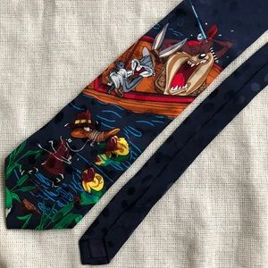 Looney Tunes Tie Fishing Bugs Bunny Blue